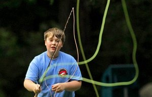 Fly-casting clinic: Sam Schermer, 12, practices casting with a long, fast-action switch fly rod at a free fly-casting clinic hosted by the Bellevue-Issaquah Chapter of Trout Unlimited held at Beaver Lake Park in Sammamish.