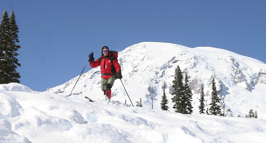 Paradise on Mount Rainier is a winter wonderland for cross-country skiing, snowshoeing and sledding.