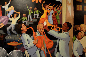 A lively music scene, part of the school's and city's history, is represented in the mural.
