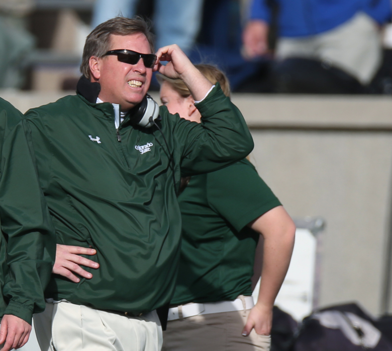 Colorado State head coach Jim McElwain reacts after his team gave up a touchdown to Air Force in the first quarter of an NCAA college football game at Air Force Academy, Colo., on Friday, Nov. 28, 2014. (AP Photo/David Zalubowski)