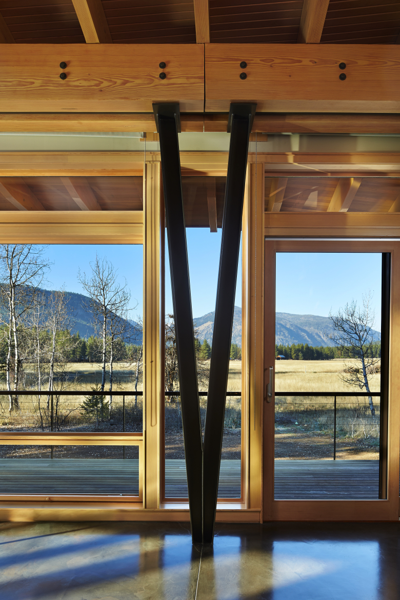 The main interior weight-bearing columns are steel with a tapered V-shape. Finne's idea is that they recall the lightness of a dancer. (Benjamin Benschneider / The Seattle Times)