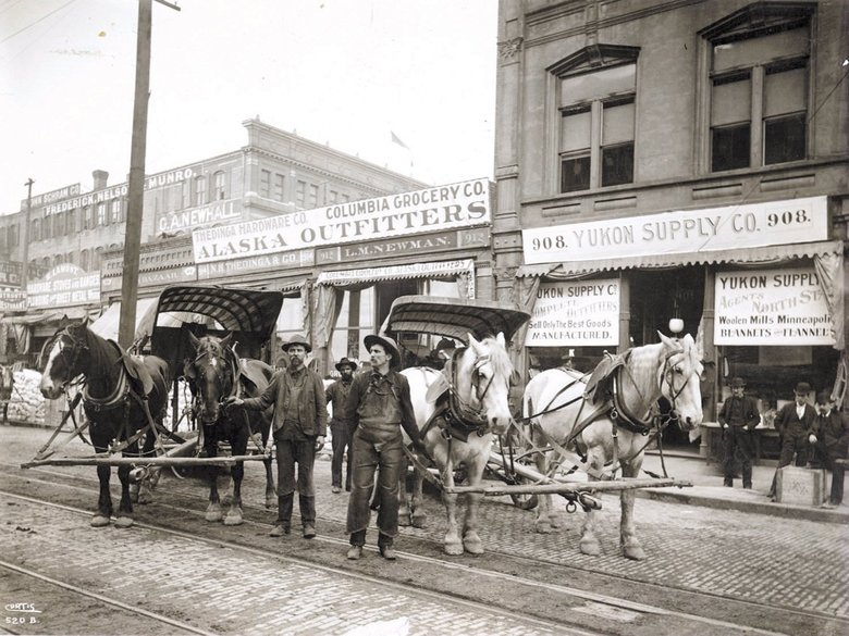 <strong>GOLD RUSH ERA:</strong> Retailers were doing big business in 1899 in Seattle, where people stocked up before chasing gold in Alaska.  (Seattle Times Archives)