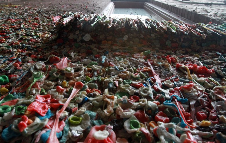 The Pike Place gum wall, photographed in 2012.  (ALAN BERNER/The Seattle Times)
