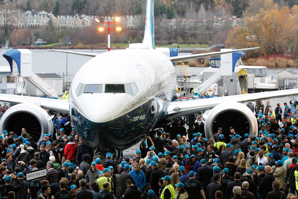 Crowd of Boeing employees gathers around the No. 1 737 MAX outside the Renton assembly plant. (Craig Larsen)