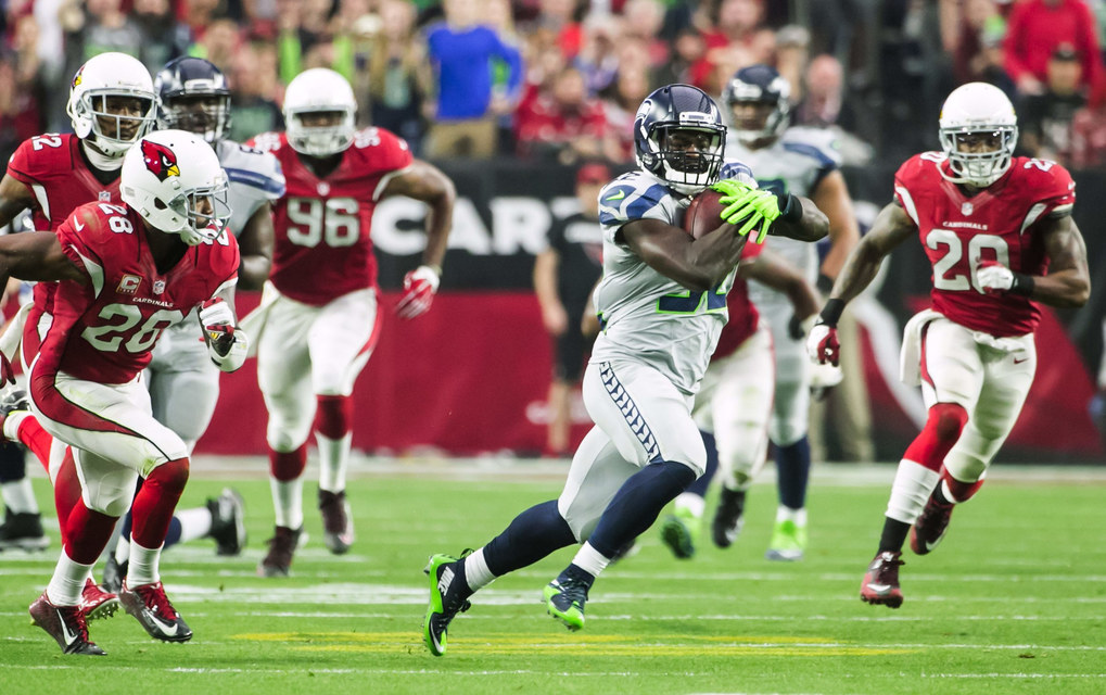 Seahawks running back Christine Michael makes a 45-yard run in the first quarter. (Bettina Hansen / The Seattle Times)