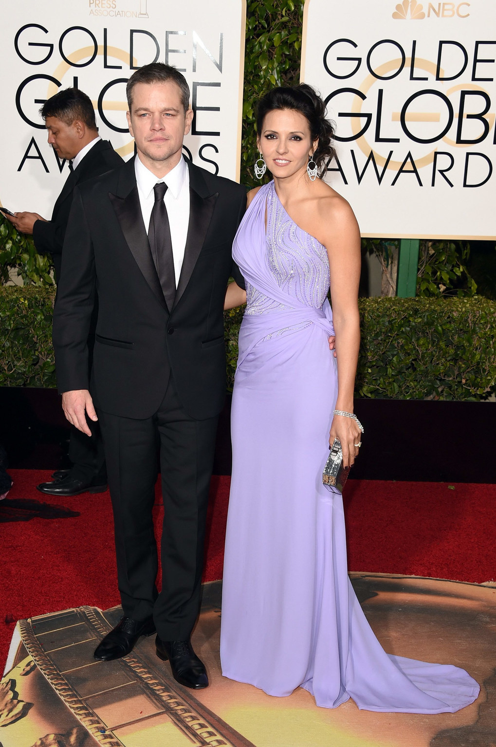 Actor Matt Damon and Luciana Damon attend the 73rd Annual Golden Globe Awards held at the Beverly Hilton Hotel on January 10, 2016 in Beverly Hills, California.  (Photo by Jason Merritt/Getty Images)