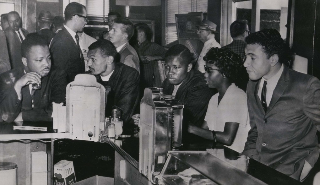 Freedom Riders have breakfast at a lunch counter in the bus station in Montgomery shortly before leaving for Jackson, Miss. and New Orleans. It was the first time the eating facilities at the station had been integrated. May 24,1961. The first group of Freedom Riders, with the intent of integrating interstate buses, left Washington, D.C. by Greyhound bus in early May 1961.  (The Associated Press)