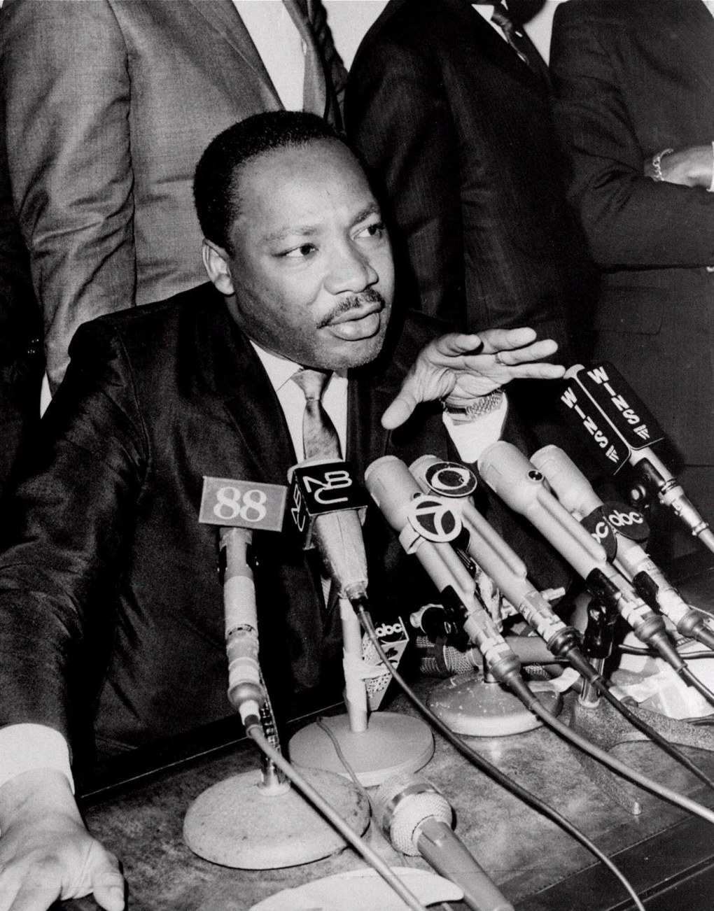 "Dr. Martin Luther King Jr. tells reporters he is ""disenchanted"" with President Johnson's Vietnam policies and may endorse either Sen. Robert Kennedy or Sen. Eugene McCarthy for the 1968 Democratic presidential nomination. Undated. (AP Photo/Anthony Camerano)"
