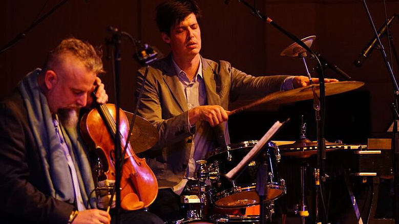 Mat Maneri, violin, and Ches Smith, drums, perform at the NYC Winter Jazzfest. Smith's trio will perform in Seattle in February.  (Bart Babinski)