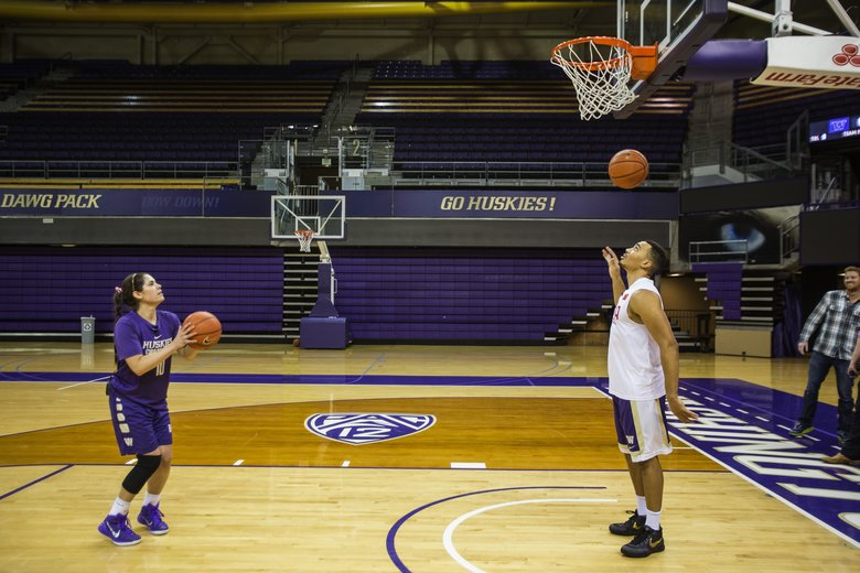 Washington's top shooting guards, Andrew Andrews, and Kelsey Plum. (Dean Rutz/The Seattle Times)