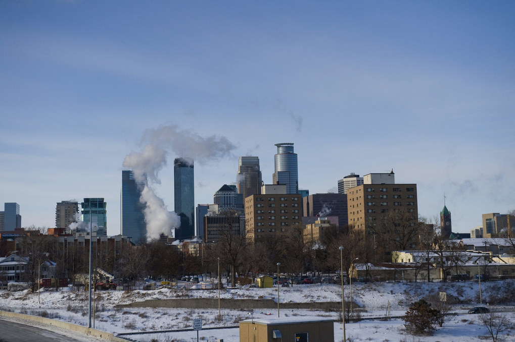 A view of downtown Minneapolis as the area deals with record-breaking freezing weather in January 2014. (Stephen Maturen/Getty Images)