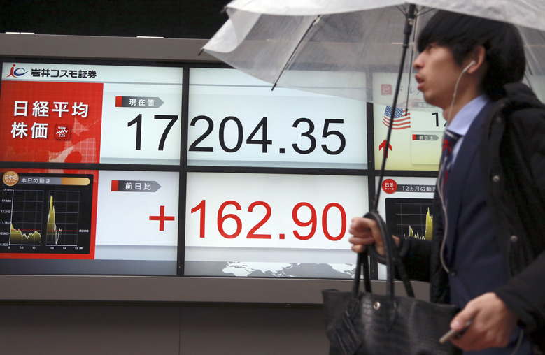 A man walks past an electronic stock board showing Japan's Nikkei 225 in Tokyo, Friday, Jan. 29, 2016. Japanese stocks swung between gains and losses on Thursday and the yen dived after the country's central bank introduced a negative rate interest policy to boost the economy after previous stimulus efforts produced indifferent results. (AP Photo/Eugene Hoshiko)
