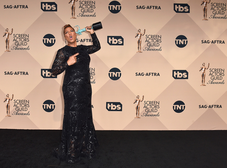 "Queen Latifah poses in the press room with the award for outstanding female actor in a TV movie or miniseries for ""Bessie"" at the 22nd annual Screen Actors Guild Awards at the Shrine Auditorium & Expo Hall on Saturday, Jan. 30, 2016, in Los Angeles. (Photo by Jordan Strauss/Invision/AP)"
