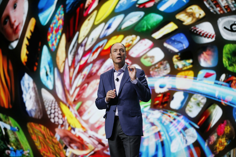 Tim Baxter, president and COO of Samsung Electronics America, speaks during a Samsung news conference at CES 2016 on Tuesday. (John Locher / The Associated Press)