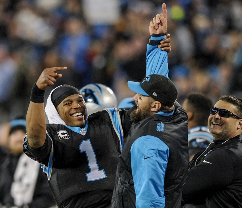 Carolina Panthers quarterbacks Cam Newton (1) and Derek Anderson have fun on the sidelines during a NFL football game against the Tampa Bay Buccaneers in Charlotte, N.C.  (Mike McCarn/The Associated Press)