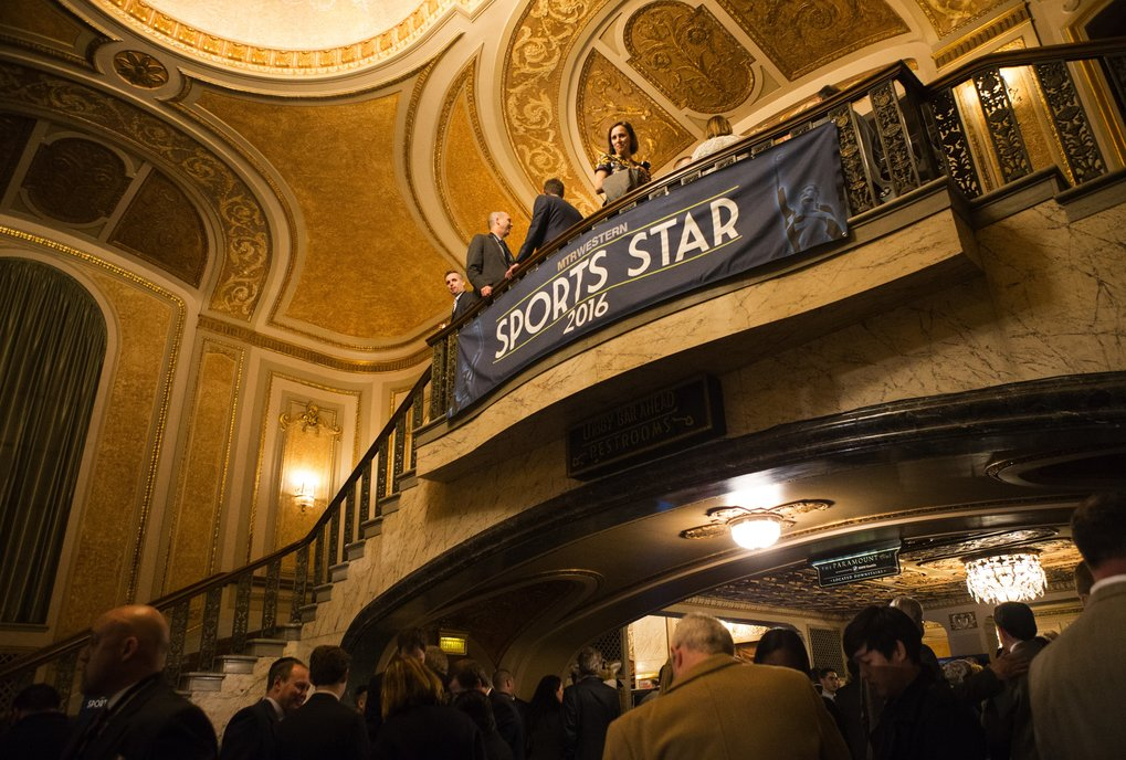 People mile in the lobby of the Paramount Theater during the MTR Western Seattle Sports Star of the Year Awards at the Paramount on Wednesday, Feb. 10, 2016. Michael Bennett of the Seattle Seahawks was named the Male Sports Star of the Year, while Megan Rapine of the Seattle Reign FC was named the Female Sports Star of the Year.