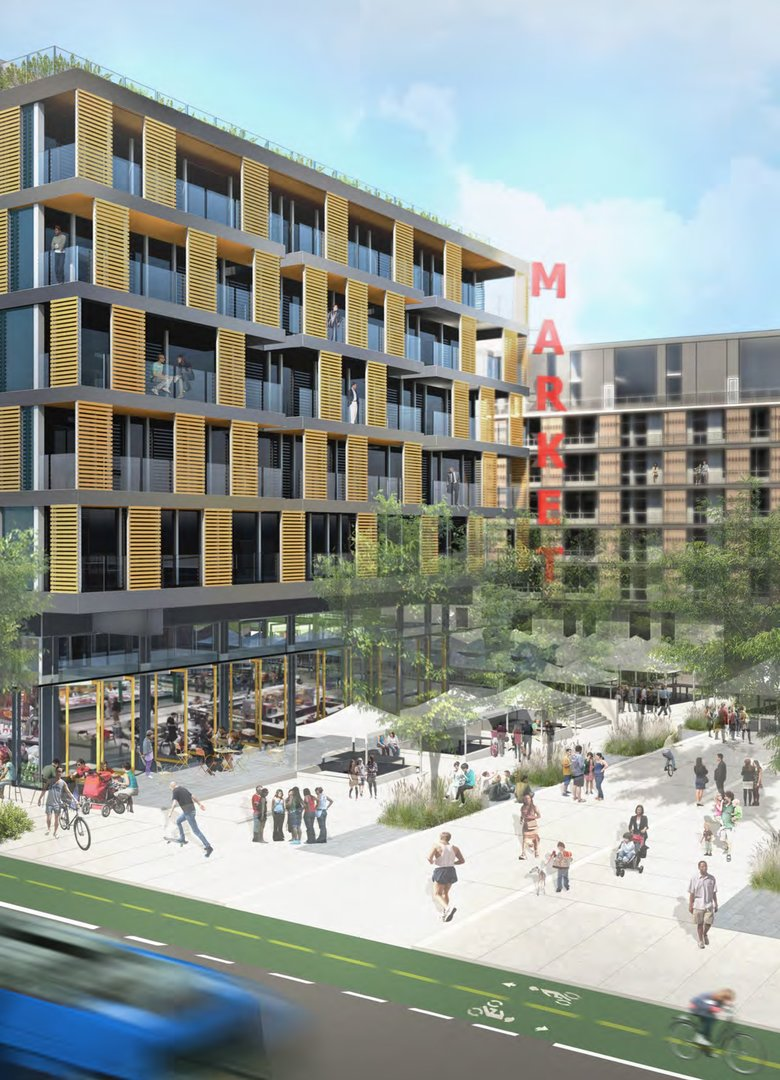 Rendering shows a proposal by developer Gerding Edlen for a commercial and residential project at the light-rail station on Capitol Hill. (Courtesy of Gerding Edlen)