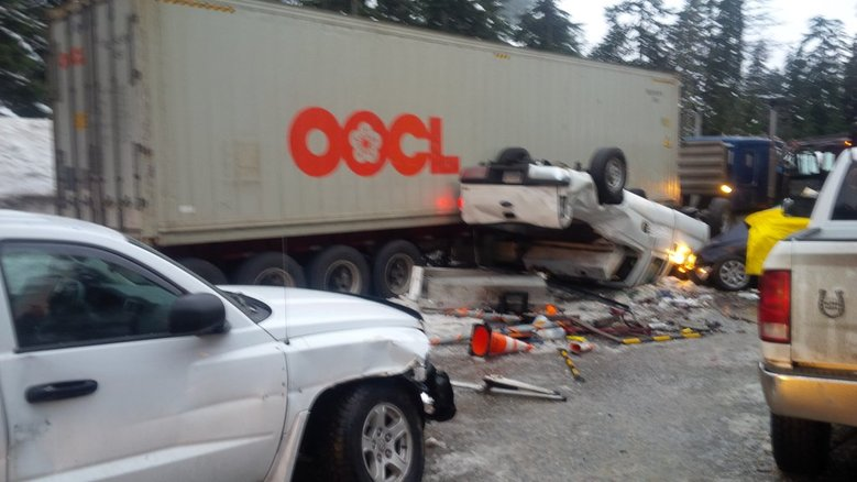 Two people were killed in a wreck on westbound I-90 on Friday, Feb. 5, 2015. (Washington State Patrol)
