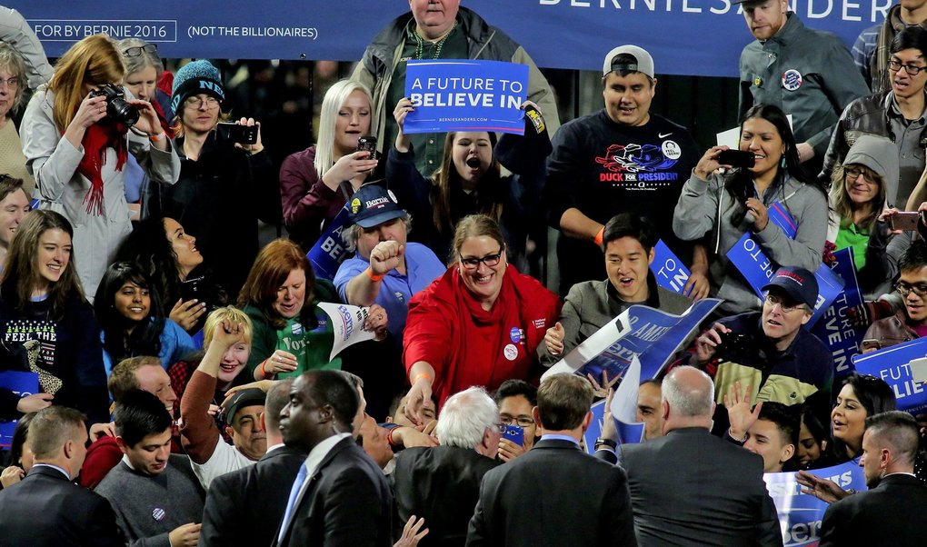 Bernie Sanders, at center bottom, greets fans after his speech at Safeco Field.  (Greg Gilbert / The Seattle Times)