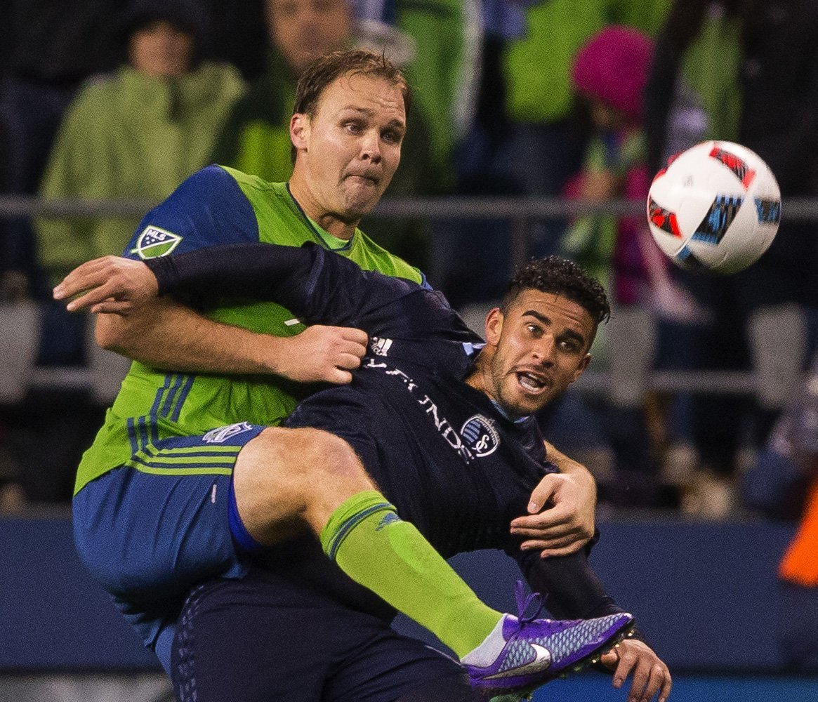 Defender Chad Marshall and the Sounders lost 1-0 to Sporting Kansas City in their season opener last weekend at CenturyLink Field. (Dean Rutz/The Seattle Times)
