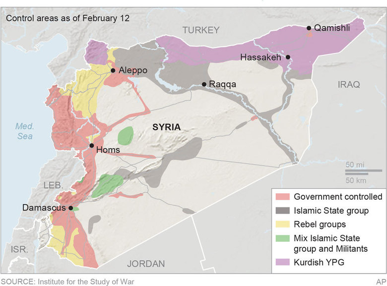 Map locates the areas of control in Syria; 3c x 4 1/2 inches; 146 mm x 114 mm;
