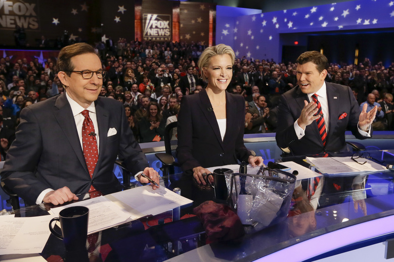 FILE – In this Jan. 28, 2016 file photo, FOX News debate moderators Chris Wallace, from left, Megyn Kelly and Bret Baier wait for the start of the Republican presidential primary debate in Des Moines, Iowa. Anticipating another appearance on a debate stage with Donald Trump, Kelly says their public feud hasn't affected her preparation and she doesn't expect a renewal of hostilities with the Republican presidential front runner. She is moderating a debate with colleagues Bret Baier and Chris Wallace, Thursday, March 3, at Detroit's Fox Theater from 9 to 11 p.m. ET. (AP Photo/Charlie Neibergall, File)