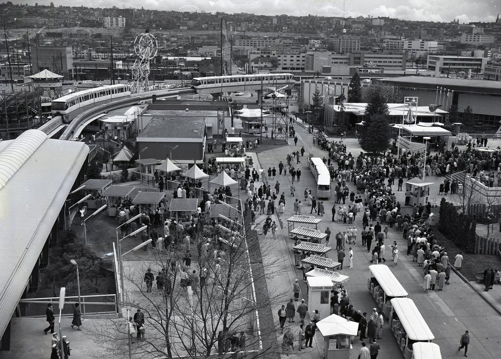 A view showing the monorail moving through the World's Fair on April 21, 1962.  (Josef Scaylea / The Seattle Times)