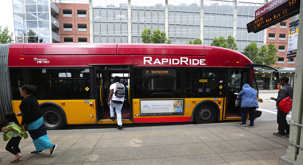 The RapidRide F Line stops at the Renton Transit Center on Wednesday. Renton officials want more high-capacity transit than what's currently in the Sound Transit 3 plan. (Ken Lambert/The Seattle Times)