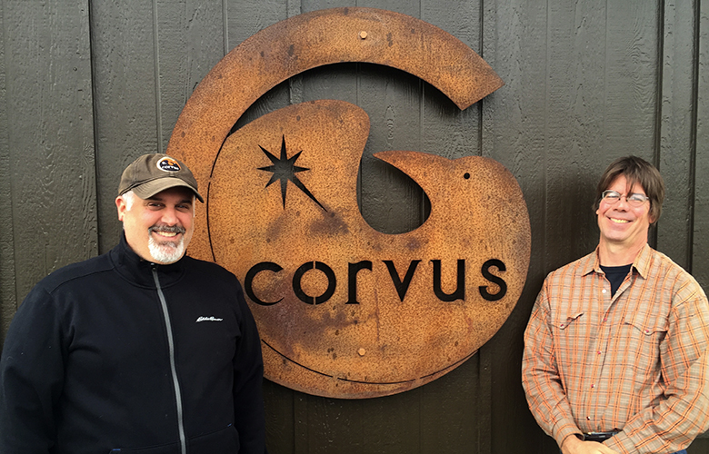 Randall Hopkins, left, and Steve Lessard own Corvus Cellars. Their estate vineyard is on Red Mountain, and their winery and tasting room is in Walla Walla.