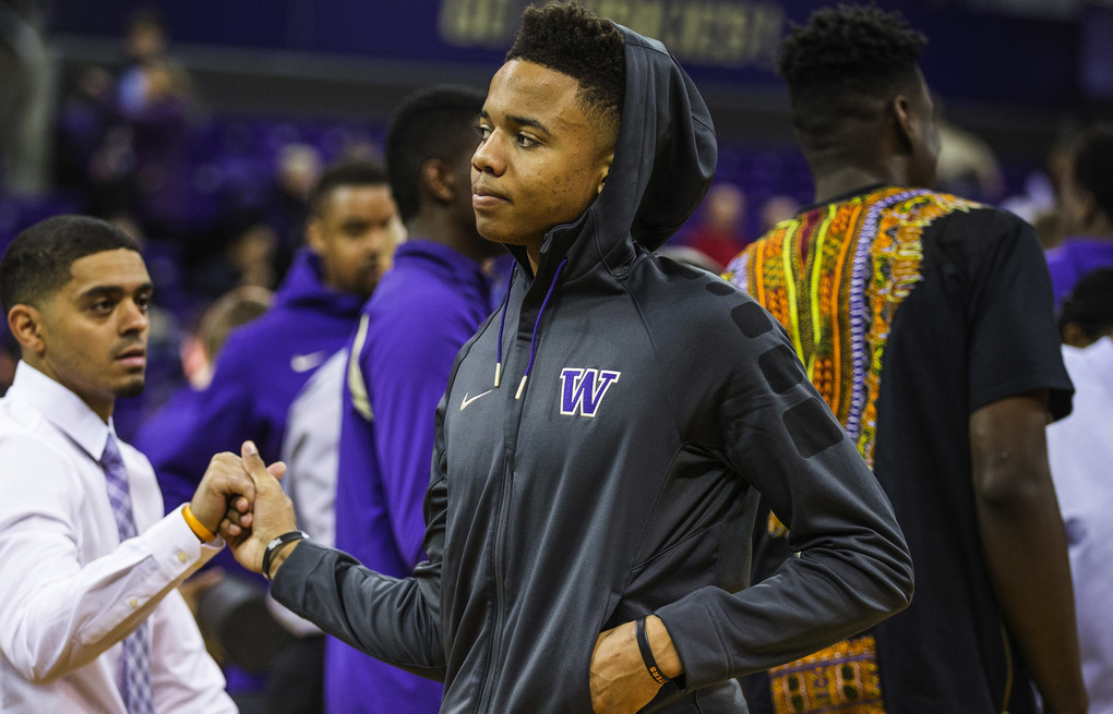Future Husky Markelle Fultz was on hand to watch Saturday's game with Arizona.