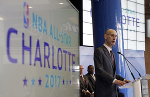 FILE – In this Tuesday, June 23, 2015 file photo NBA Commissioner Adam Silver speaks during a news conference to announce Charlotte, N.C., as the site of the 2017 NBA All-Star basketball game. (AP Photo/Chuck Burton, File)