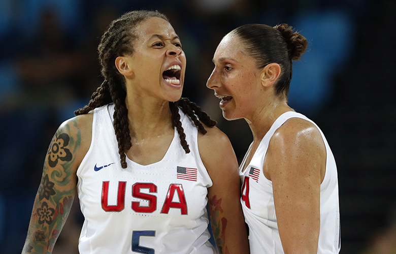 United States' Seimone Augustus (5), with teammate Diana Taurasi, reacts to a score against Japan during a women's quarterfinal round basketball game at the 2016 Summer Olympics in Rio de Janeiro, Brazil, Tuesday, Aug. (5), with teammate Diana Taurasi, reacts to a score against Japan during a women's quarterfinal round basketball game at the 2016 Summer Olympics in Rio de Janeiro, Brazil, Tuesday, Aug. 16, 2016. (AP Photo/Eric Gay)