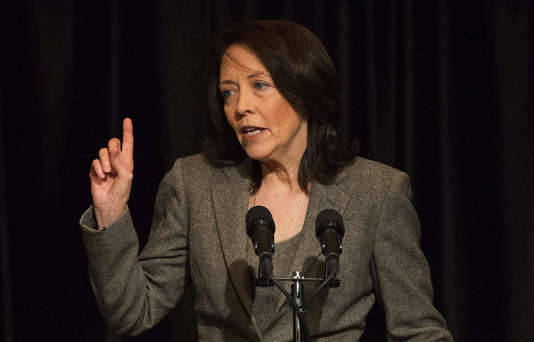 Washington State Senator Maria Cantwell speaks at a fundraising luncheon for fellow senator Patty Murray held at the Washington State Convention Center, Monday March 21, 2016.