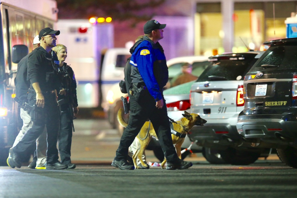 Law-enforcement officers use a dog to search for the gunman in the  shooting at Cascade Mall in Burlington on Friday, Sept. 23, 2016.  (Dean Rutz / The Seattle Times)