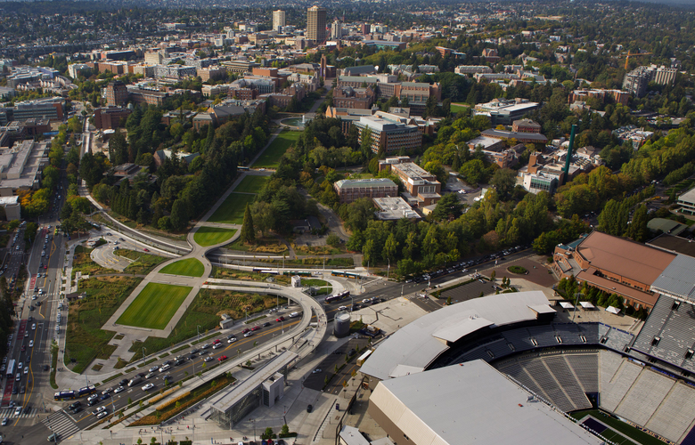Aerial shot of  the Husky stadium and other buildings at the University of Washington shot Friday, September 16, 2016.