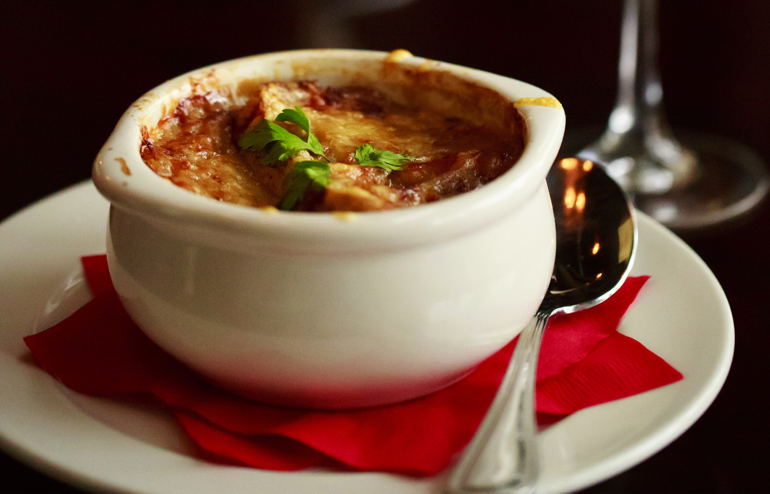 French Onion soup, with Caramelized onion, rich beef broth, crostini and Gruyere, sells for $9 at Maree Bistro & Bar, in West Seattle.