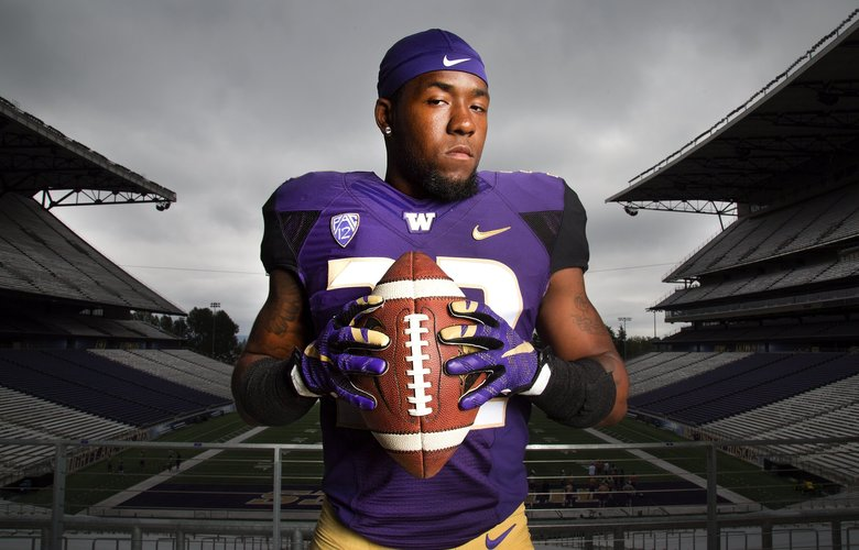 University of Washington defensive back Budda Baker poses for a portrait at Alaska Airlines Field at Husky Stadium on Tuesday, July 26, 2016, in Seattle. (Johnny Andrews / The Seattle Times)