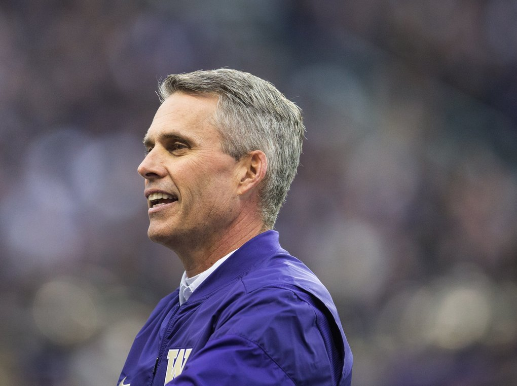 Coach Chris Petersen has taken a middling team to a winning one in just two years. (Lindsey Wasson/The Seattle Times)