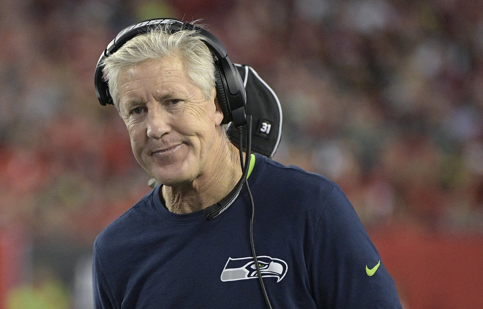 Seattle Seahawks head coach Pete Carroll, right, argues a call with umpire Tony Michalek (115) during the second half of an NFL football game against the Tampa Bay Buccaneers in Tampa, Fla., Sunday, Nov. (115) during the second half of an NFL football game against the Tampa Bay Buccaneers in Tampa, Fla., Sunday, Nov. 27, 2016. The Buccaneers won 14-5. (AP Photo/Phelan M. Ebenhack)