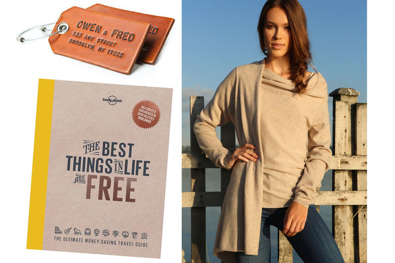 Owen & Fred Luggage Tags, $8; Red Twist Cashmere Wrap, $195; The Best Things in Life are Free, $23