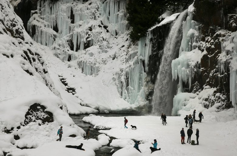 Last month, families and groups explore Franklin Falls near the Exit 47 Denny Creek/Tinkham Road Exit off Interstate 90 outside North Bend. Groups should be wary of road and icy trail conditions.  (Erika Schultz/The Seattle Times)