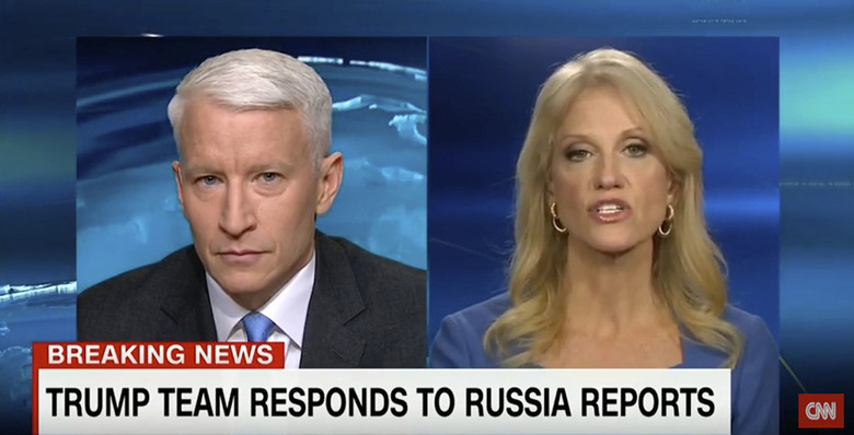 "This screen image from CNN shows anchor Anderson Cooper, left, and Trump adviser Kellyanne Conway during their 25-minute televised confrontation on CNN Thursday, Jan. 11, 2017, after the network reported on Tuesday that national intelligence officials had informed the president-elect that the Russians had collected a dossier on his behavior. CNN did not specifically detail what that behavior was because it couldn't vouch for its veracity. But it was CNN that gave BuzzFeed the cover to do so, Conway said. ""You got the party started,"" she said.  (CNN via AP)"
