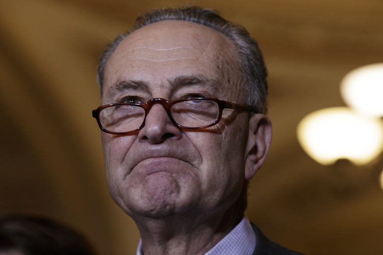 Senate Minority Leader Chuck Schumer, D-N.Y. pauses during a news conference on Capitol Hill in Washington, Wednesday, Feb. 15, 2017, to  call for an investigation into President Donald Trump's administration over its relationship with Russia, including when Trump learned that his national security adviser, Michael Flynn, had discussed U.S. sanctions with a Russian diplomat. (AP Photo/J. Scott Applewhite)