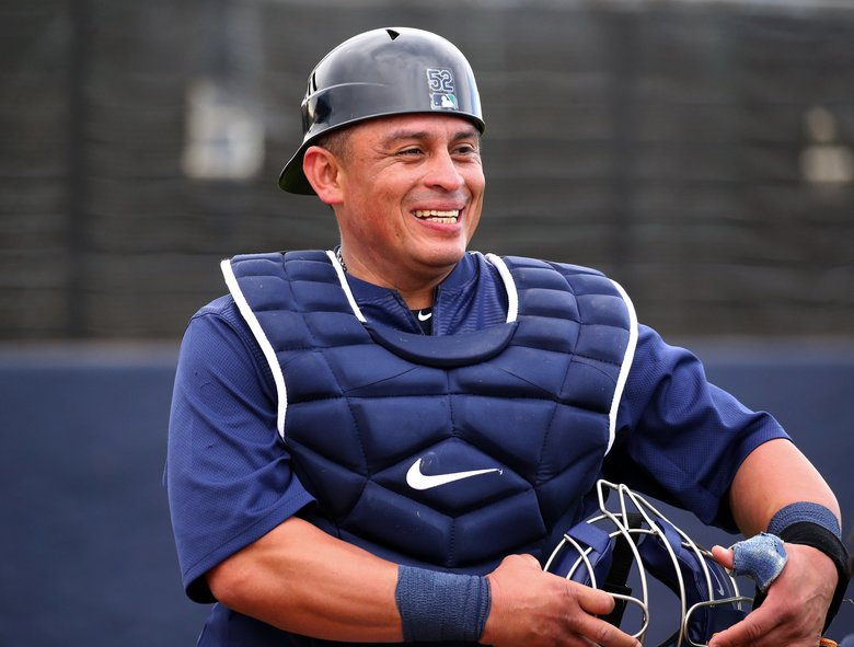 Mariners catcher Carlos Ruiz on the fourth day of spring training, Friday, Feb. 17, 2017, in Peoria, Ariz. — 200786 (Ken Lambert/The Seattle Times)