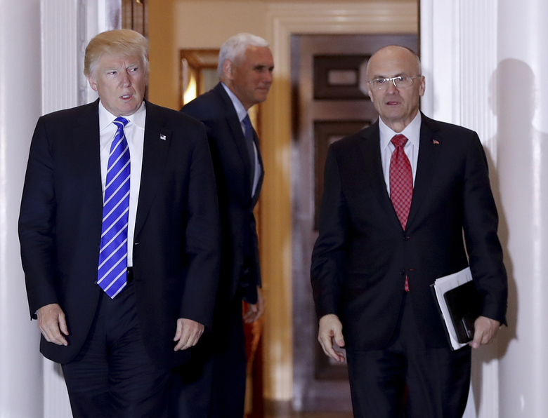President Donald Trump and Andrew Puzder, who abruptly withdrew his nomination for labor secretary Wednesday after Senate Republicans balked at supporting him, in part over taxes he belatedly paid on a former housekeeper not authorized to work in the United States. (AP Photo/Carolyn Kaster, file)