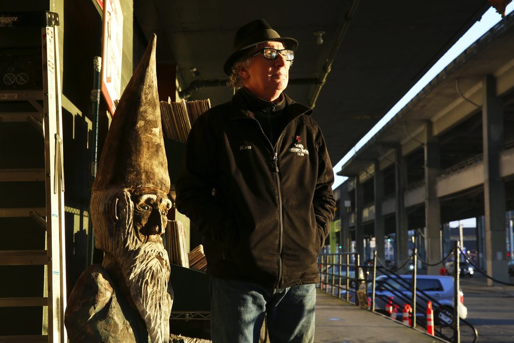 Ken Eubank, of Seattle Antiques Market, says it's only a matter of time until his store goes away, along with the Viaduct. (Ken Lambert/The Seattle Times)