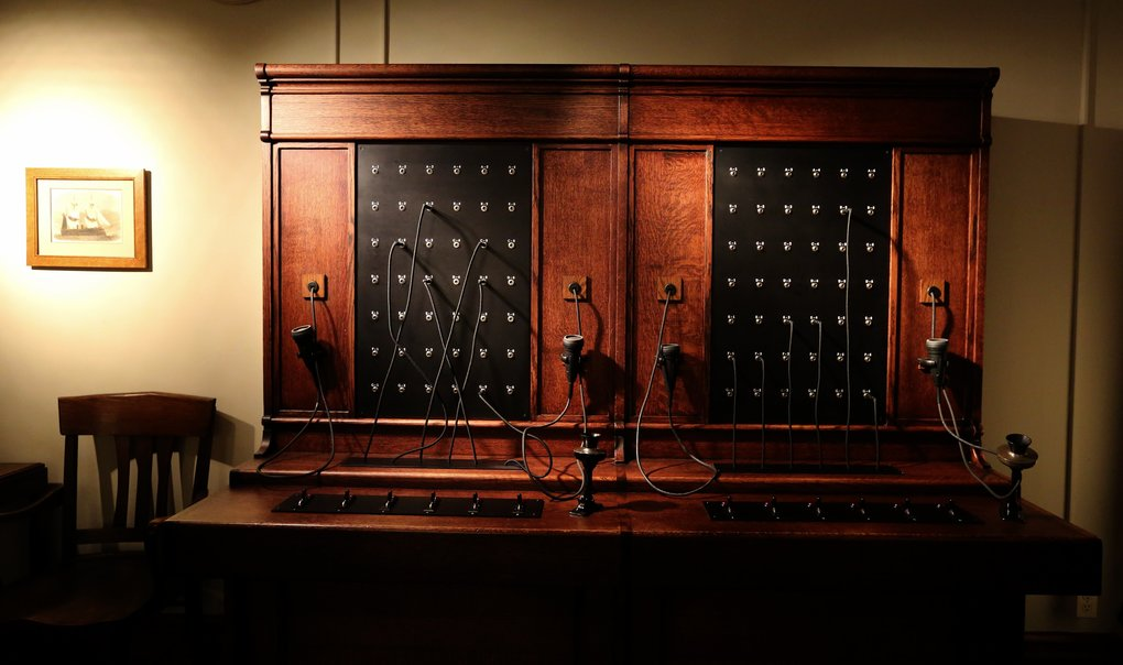 The original switchboard at Smith Tower has been preserved.  (Alan Berner/The Seattle Times)