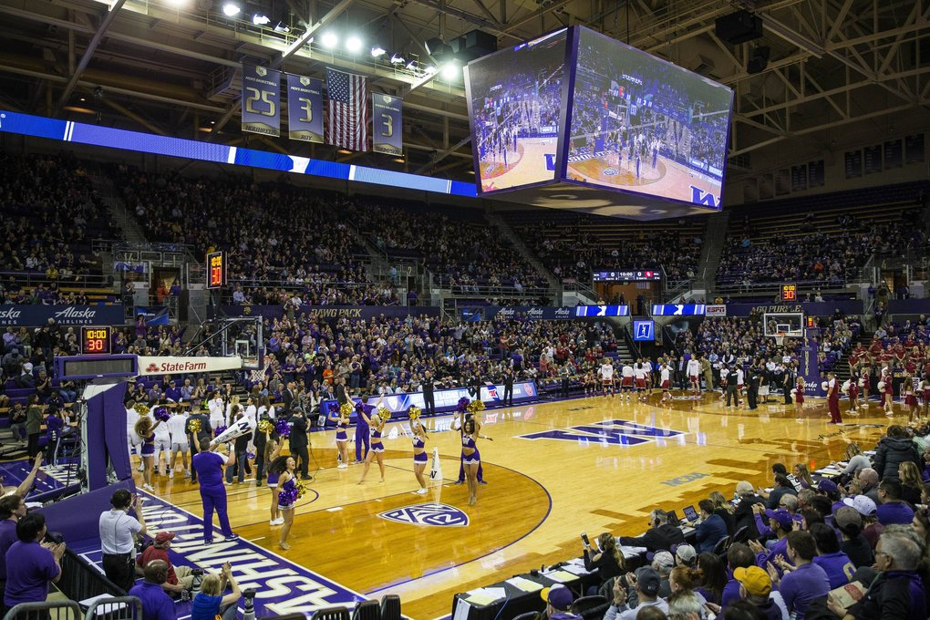 Alaska Airlines Arena is packed for Monday's round of 32 game.  (Dean Rutz / The Seattle Times)