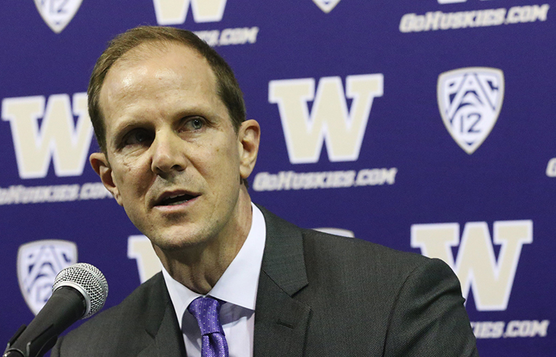 New University of Washington men's basketball coach Mike Hopkins speaks at a news conference, Wednesday, March 22, 2017, in Seattle.