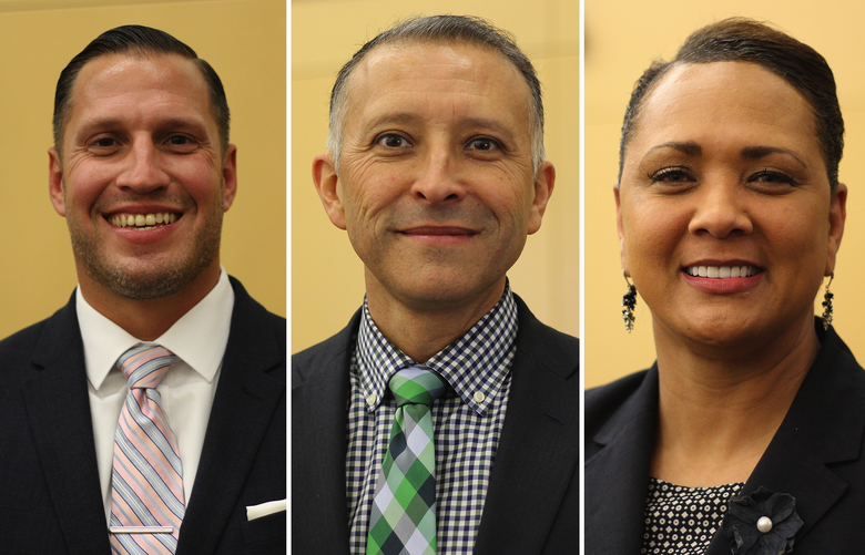 From left: The finalists for the Bellevue School District superintendent job are Joel Boyd, a former superintendent in Santa Fe, New Mexico; Ivan Duran, deputy superintendent of the Dallas Independent School District in Texas; and Katrise Perera, a 2015 national superintendent of the year from Isle of Wight County Schools in Smithfield, Virginia.